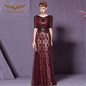 创意狐红色婚纱礼服短袖2016新款晚装高腰敬酒服高端长款连衣裙