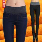 冬季加厚加绒牛仔裤女士高腰大码显瘦松紧腰弹力加棉九分铅笔长裤