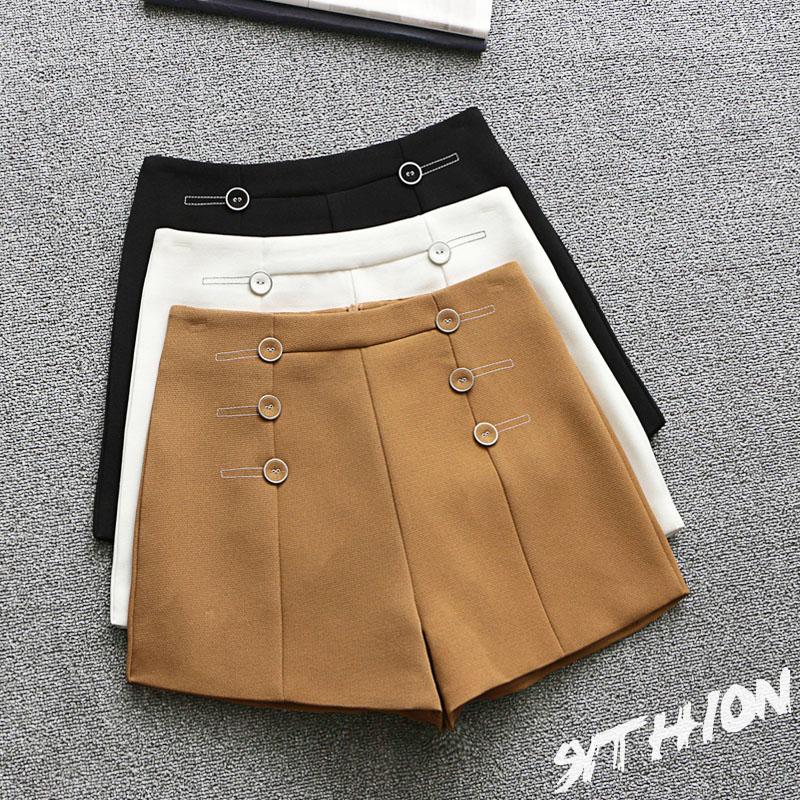2017夏季新款韩版高腰A字阔腿短裤女外穿修身显瘦热裤西装休闲裤