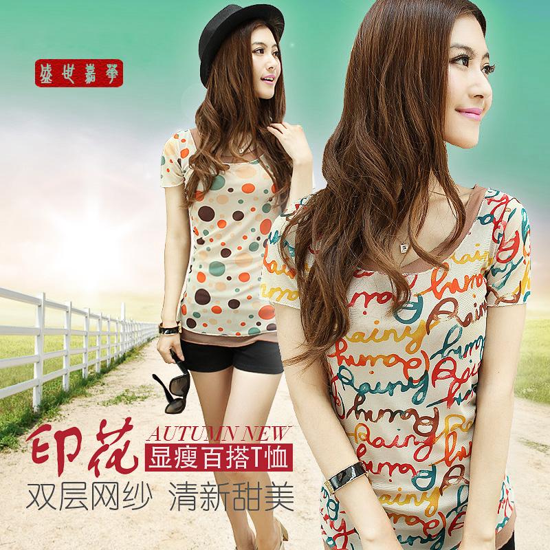 2014短袖t恤衫女装夏款 时尚百搭韩版双层网纱印花图案甜美上衣