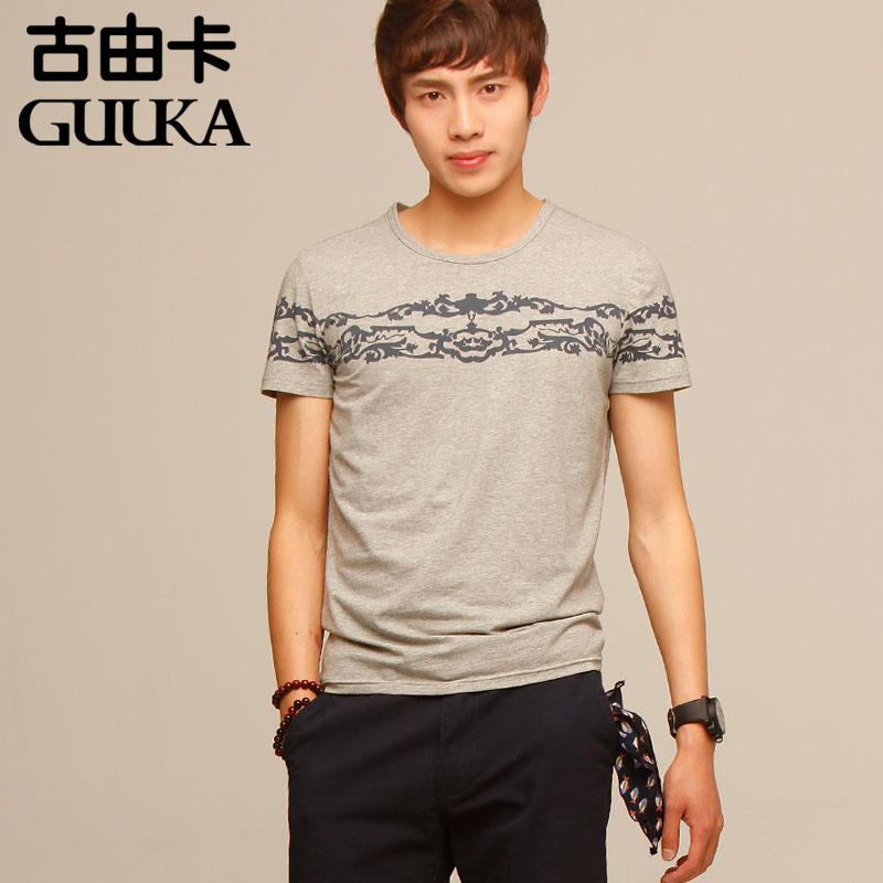 青少年夏季新款男士短袖T恤修身休闲韩版印花清仓特价包邮打底衫
