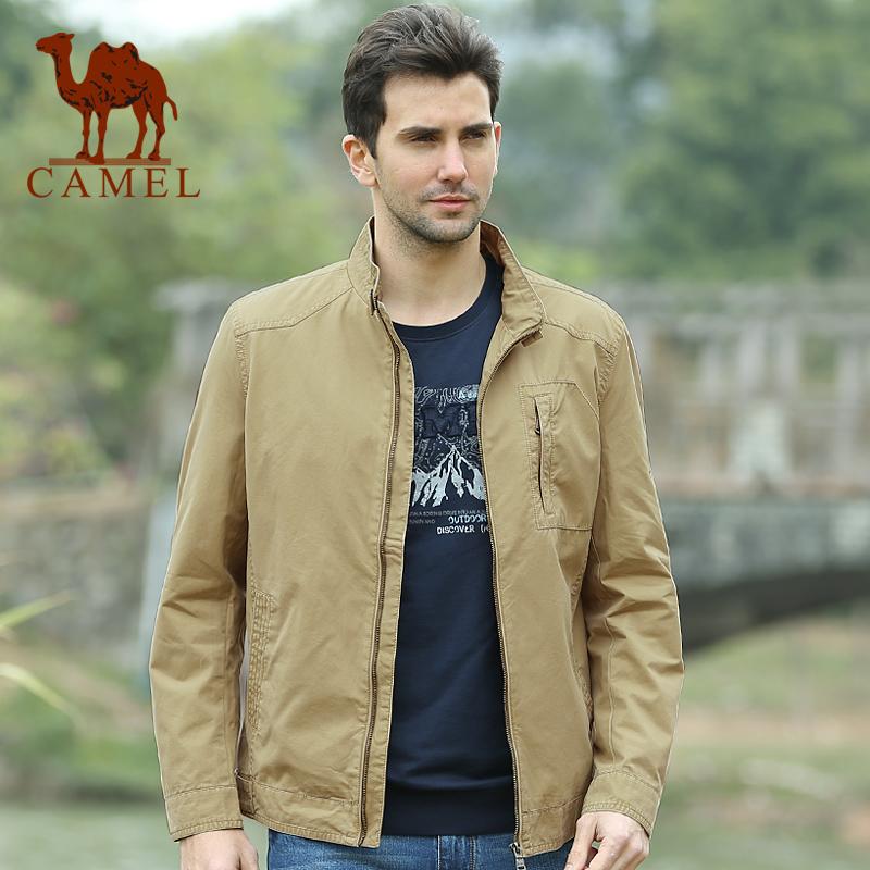 骆驼男装 春季新款商务休闲微薄立领夹克男士茄克短外套 潮