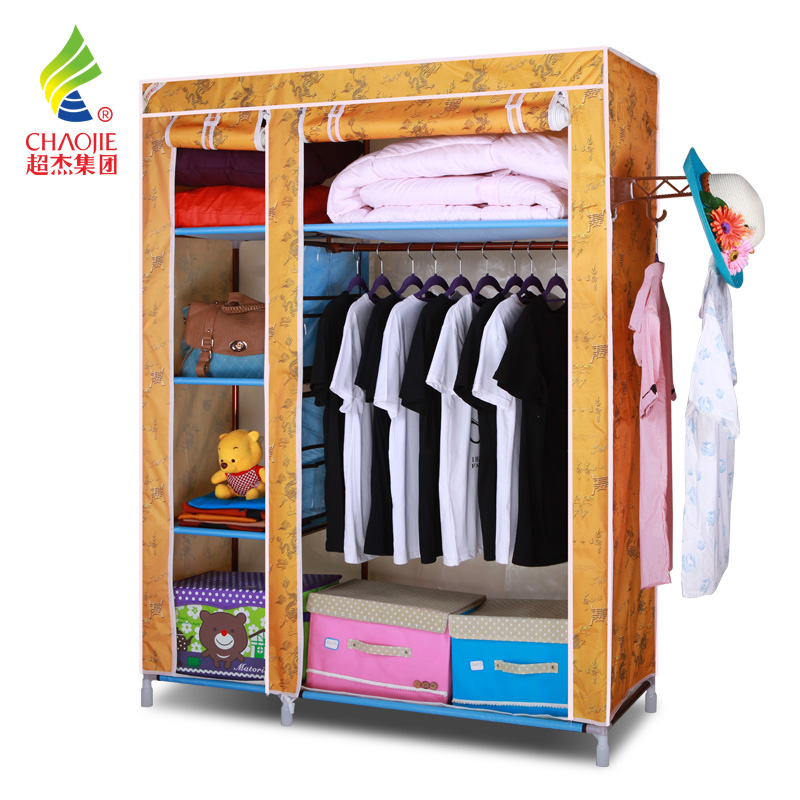 超杰 衣柜简易布衣柜 钢管加固钢架组合折叠衣柜 牛津布衣橱 大号