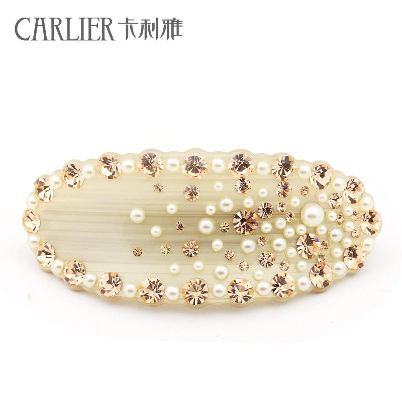 卡利雅新品 奢华高贵韩版珍珠水钻发夹韩国发卡盘发头花新娘头饰