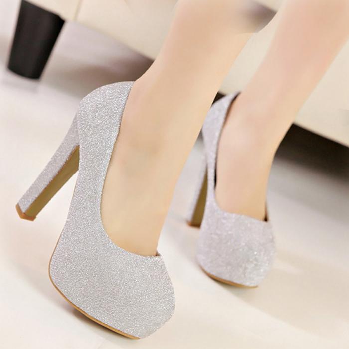 韩版简约女士高跟鞋职业白领OL女鞋子粗跟圆头浅口单鞋夜店潮女鞋