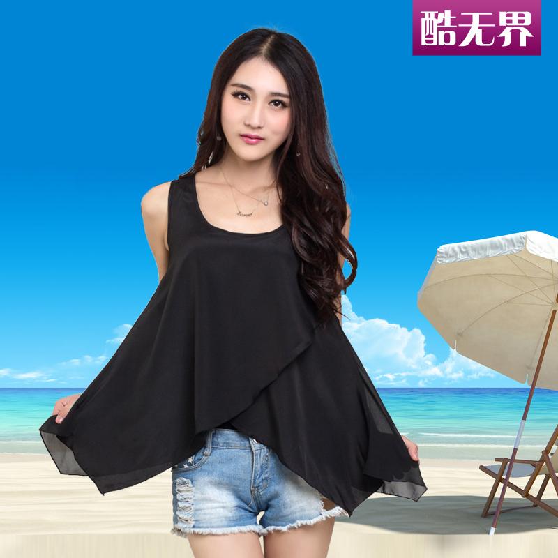 2014夏装新款上衣女雪纺衫韩版修身大码女装 夏季无袖雪纺背心