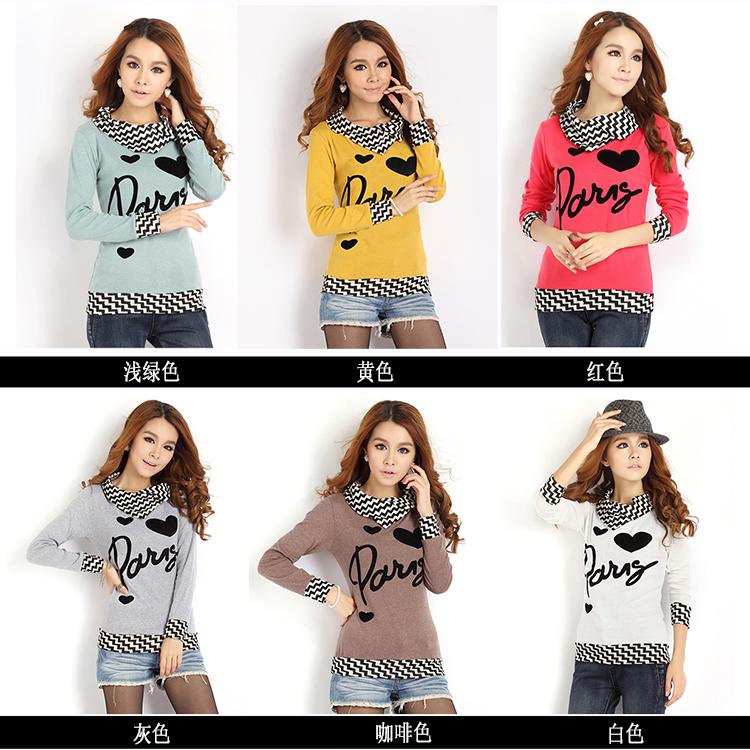 少女小衫2014春装新款时尚女装t恤 韩国秋衣外穿中学生长袖闺蜜装