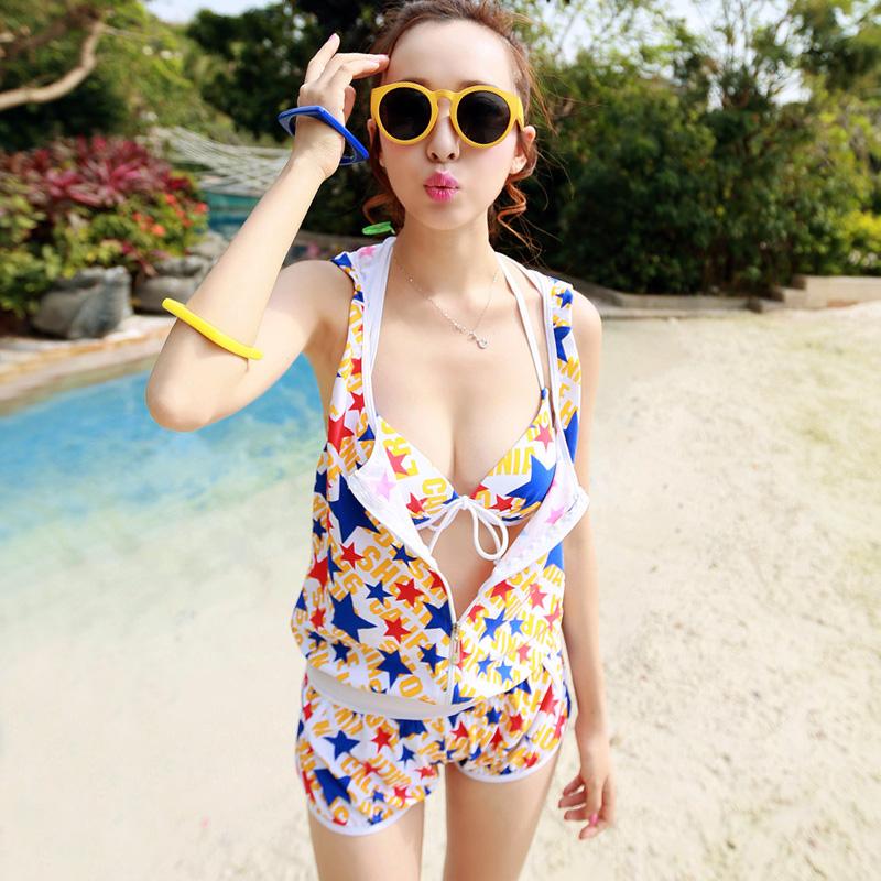 星星款韩版小胸聚拢性感钢托比基尼三件套遮肚连体外套温泉泳衣女