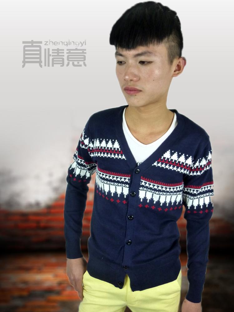 2014年男装新款 韩版 修身羊毛衣 男士休闲 V领开衫针织衫 男毛衣