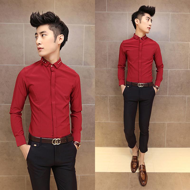 2014新款衬衫男领子亮扣装饰英伦风长袖韩版修身男