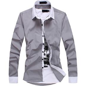 夏天青年潮男士学生修身型男潮流薄款长袖衬衫上衣服外套寸衫夏季