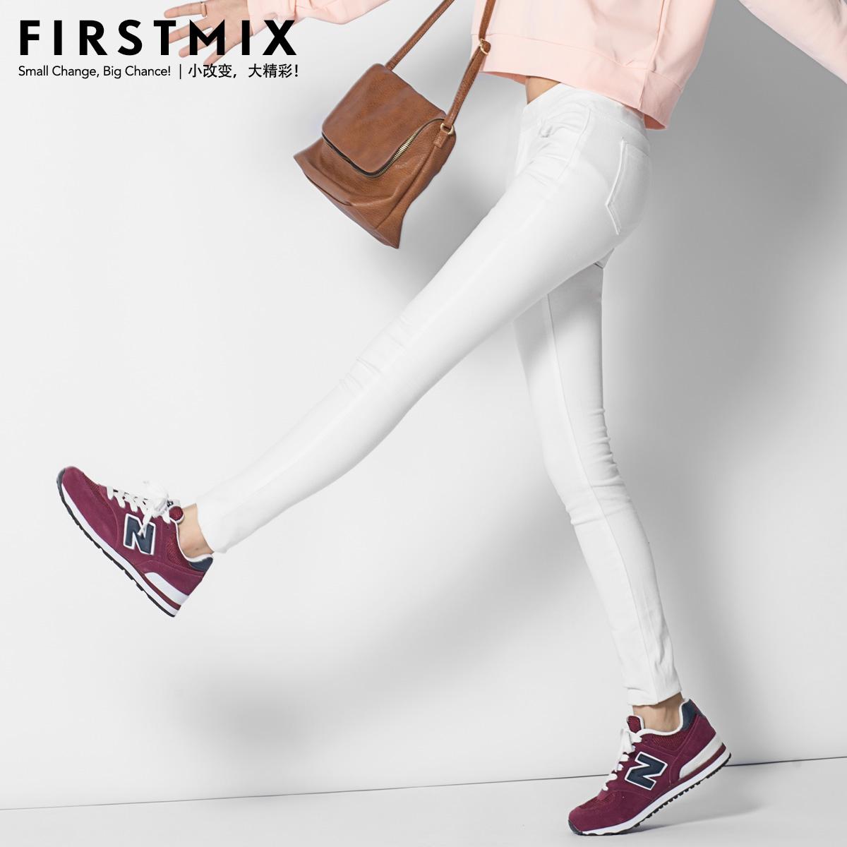 FIRSTMIX小脚裤 外穿打底裤秋冬季女长裤薄款白色铅笔裤韩版显瘦