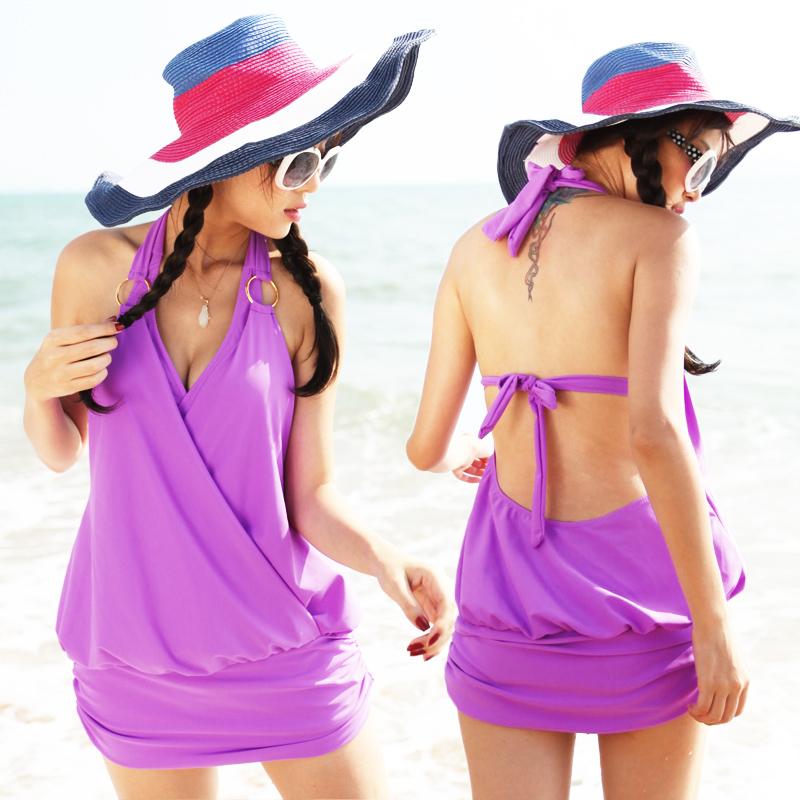 包邮泡温泉韩国分体裙式遮肚显瘦泳衣女小胸聚拢比基尼三件套泳装