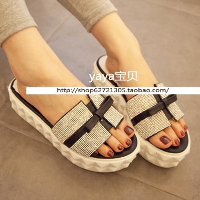 2014新款 韩国超美厚底凉拖 水钻蝴蝶结平跟松糕底凉鞋 女鞋拖鞋
