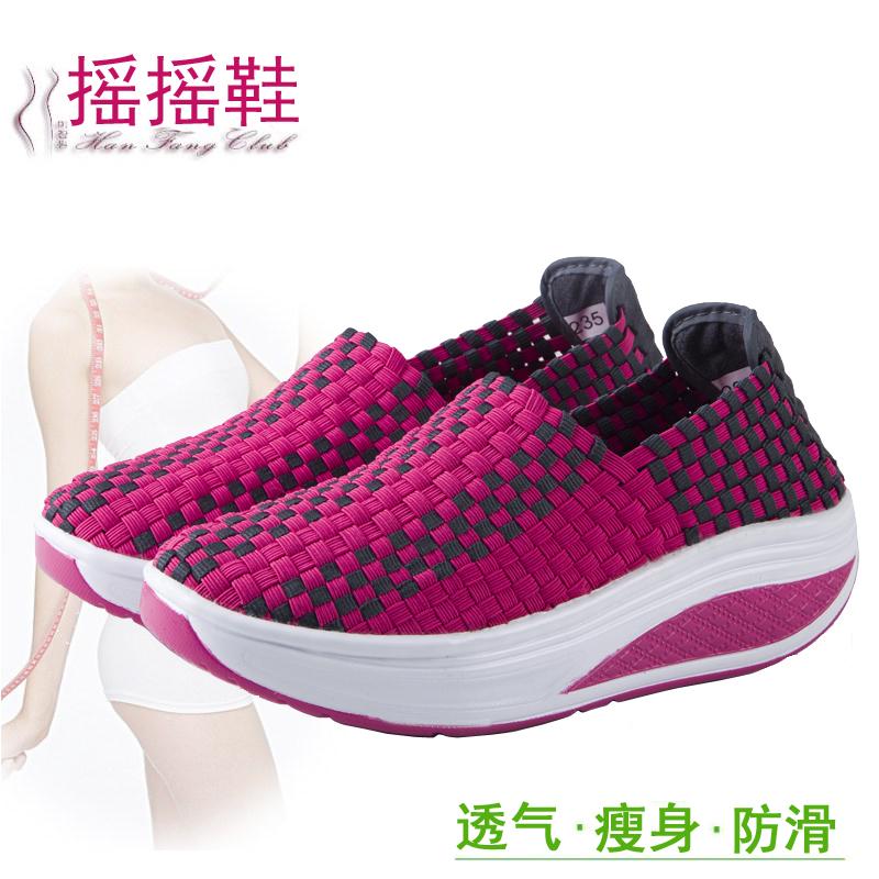 正品2015夏季新款编织摇摇鞋女鞋 韩版休闲透气女式增高鞋 手工鞋