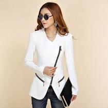 [年末狂欢] 欧洲站新款小西装外套女装2015年秋冬 白色斜拉链修身西服职业装