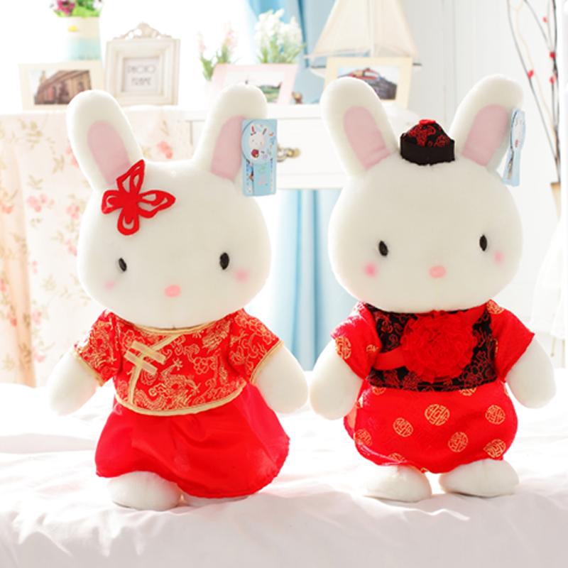 蓝白玩偶情人节可爱兔宝宝婚纱礼服情侣小兔子毛绒玩具结婚礼品