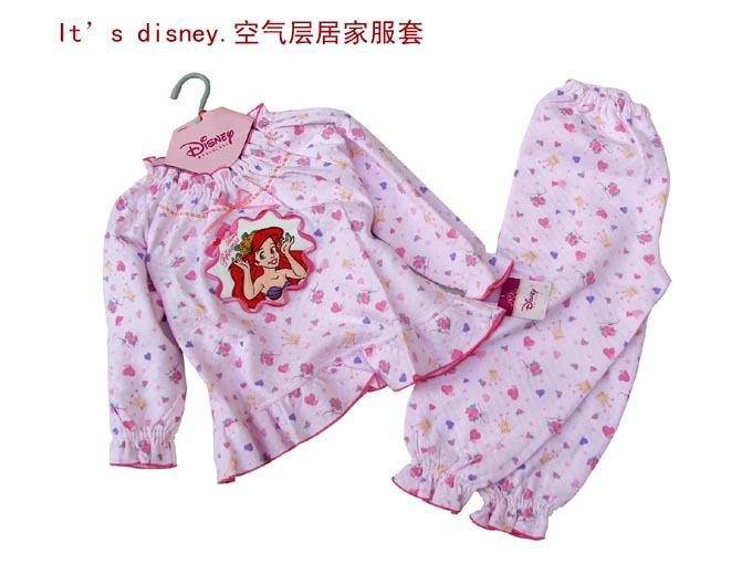 清货特价 女童加厚保暖内衣套装 空气层睡衣 美人鱼 专柜100-130