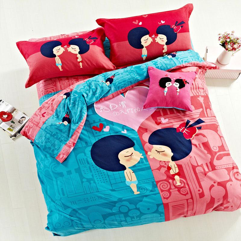 圈圈恋家纺 全活性纯棉卡通四件套 全棉儿童学生三件套床上用品