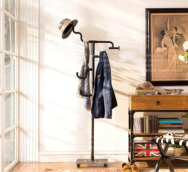 艺难忘 美式乡村复古 铁艺衣帽架 落地式挂衣架 卧室创意衣架