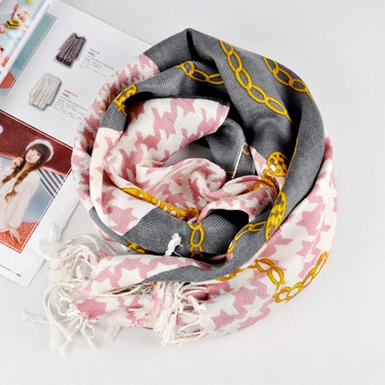 围巾披肩 加长款 春夏季欧美风格大链条千鸟图案大围巾 1212