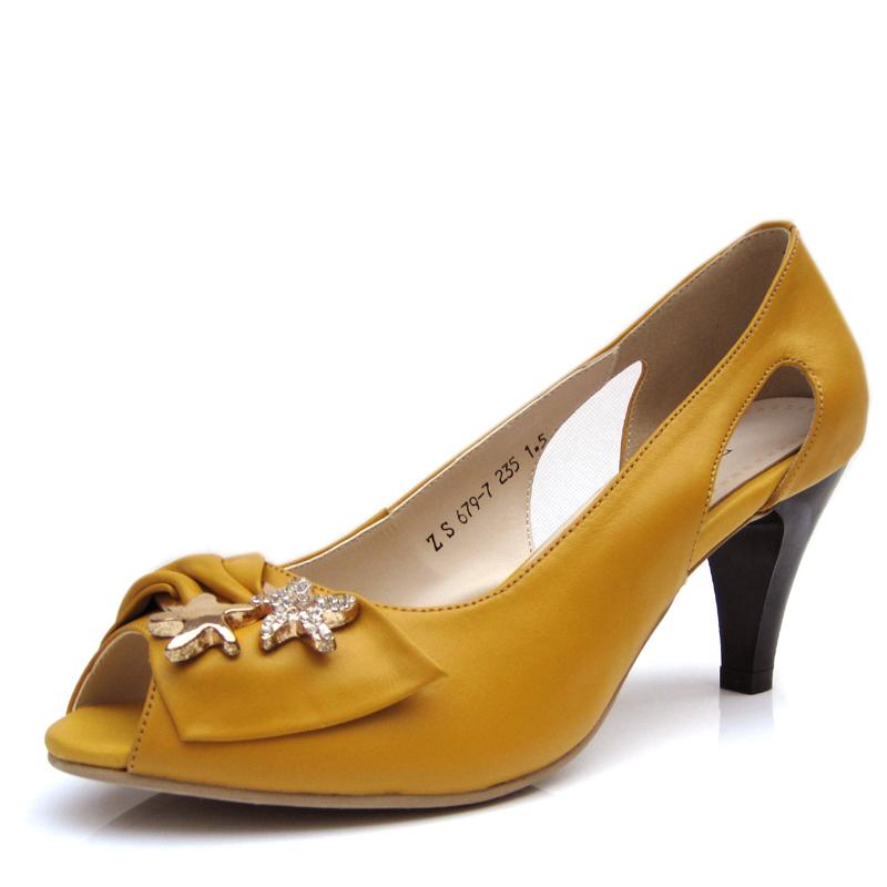 断码特价 全牛皮 优雅水钻高跟鱼嘴鞋 真皮女鞋凉鞋小牛皮凉鞋