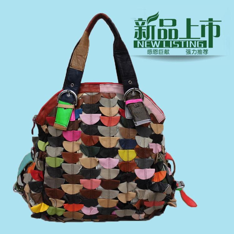 新款朋克风羊皮拼接女包欧欧美时尚碎皮手袋明星杂志欧美大牌包包