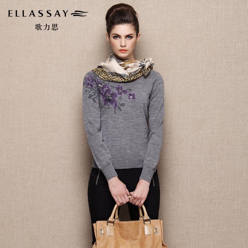 聚ELLASSAY歌力思羊毛针织衫3色 印花长袖套头毛衣熟女2014冬