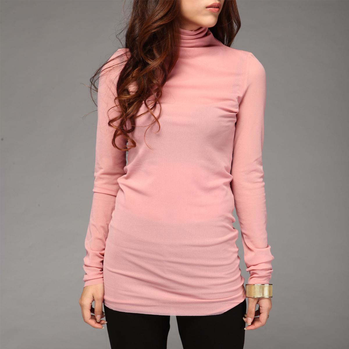 特价2014新款粉红色长袖高领衫堆领百搭打底衫女 贴身舒适版