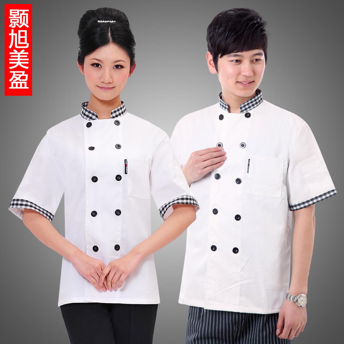 酒店工作服夏装女西餐厅制服酒店厨师长服装白色厨师服短袖双排扣