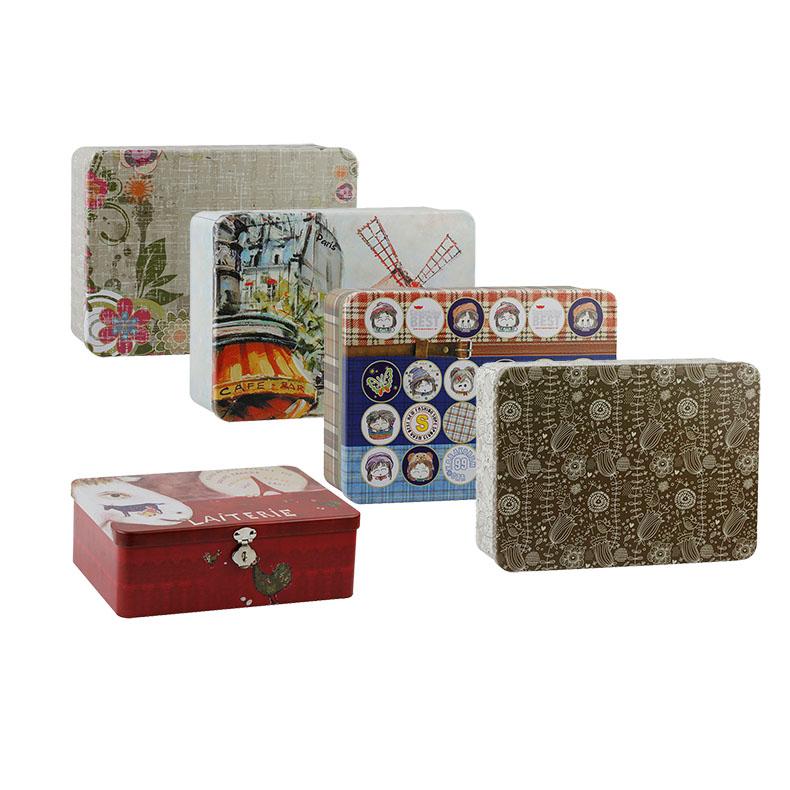 Etee带锁收纳盒储物盒置物首饰盒饰品盒储物箱马口铁盒收纳箱包邮