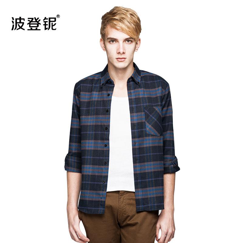 2016男装长袖磨毛衬衫休闲衬衣 韩版修身春季衬衣格子男士