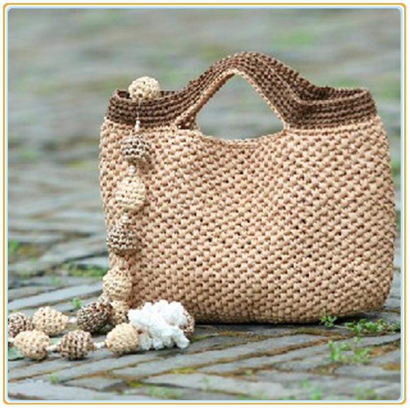 一线一品棉草拉菲 手钩包包 编织背包 材料包 满百包邮