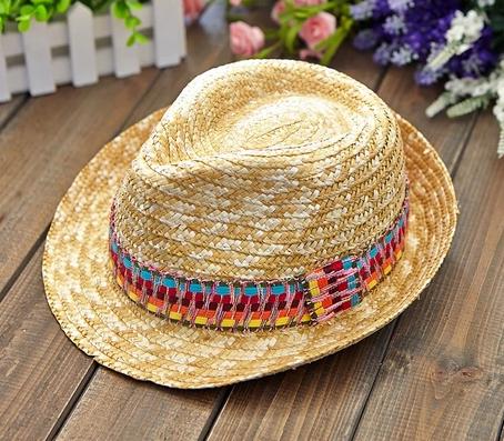 草帽批发墨西哥风帽 彩条名族风草帽 中折帽 礼帽 爵士帽 麦秆帽