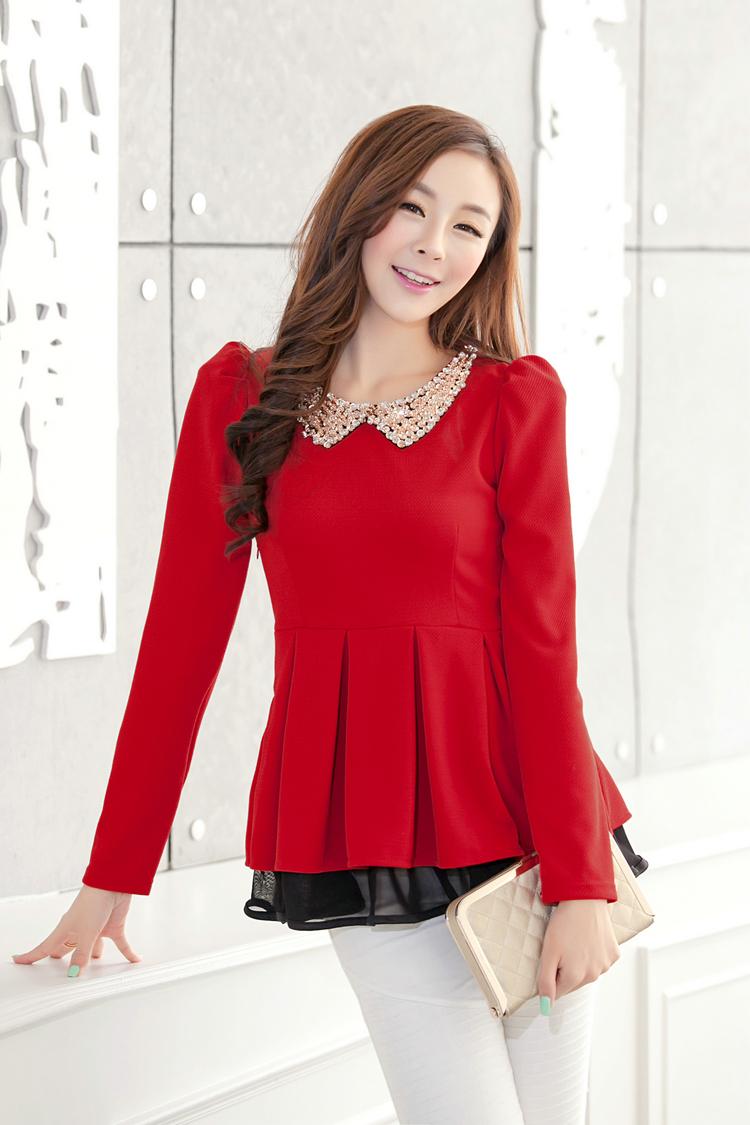 2014春装新款 韩版女装修身翻领收腰长袖雪纺连衣裙打底衫 裙装