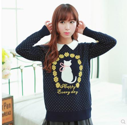 实拍2014春装新款韩版翻领猫咪提花女装针织衫套头毛衣