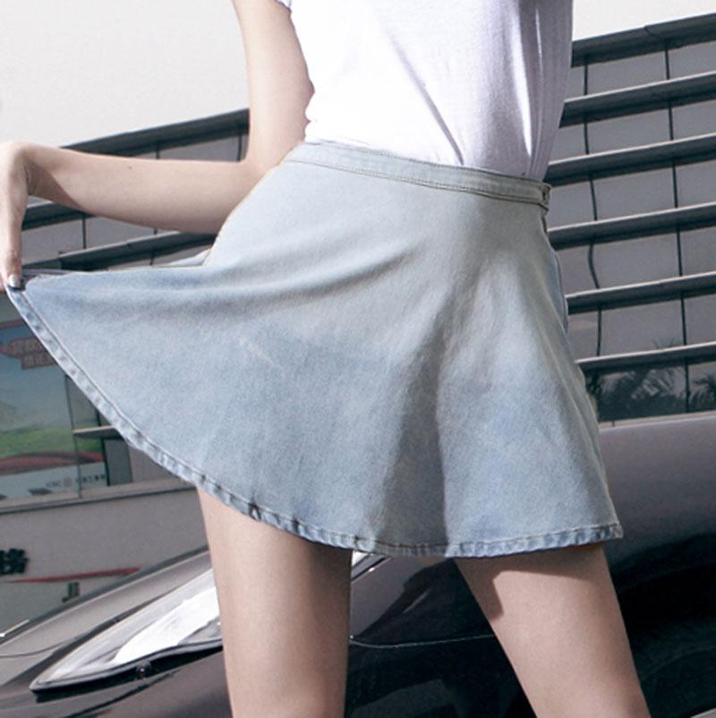 2014新款秋季牛仔裙 欧洲站女装高腰A字荷叶边裙 性感牛仔短裙