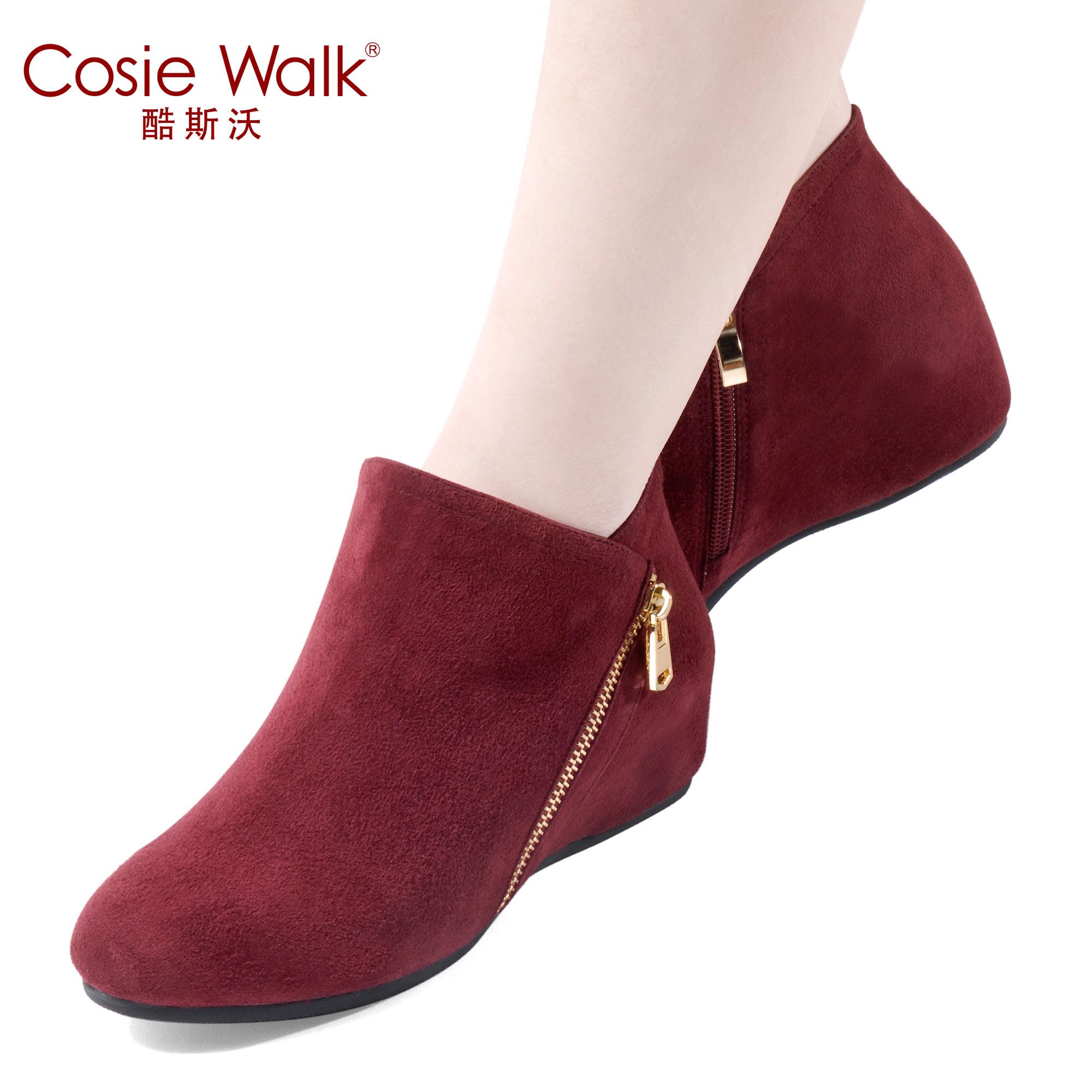 内增高磨砂皮短筒踝靴秋冬女鞋拉链真皮单靴大码中跟裸靴平底短靴
