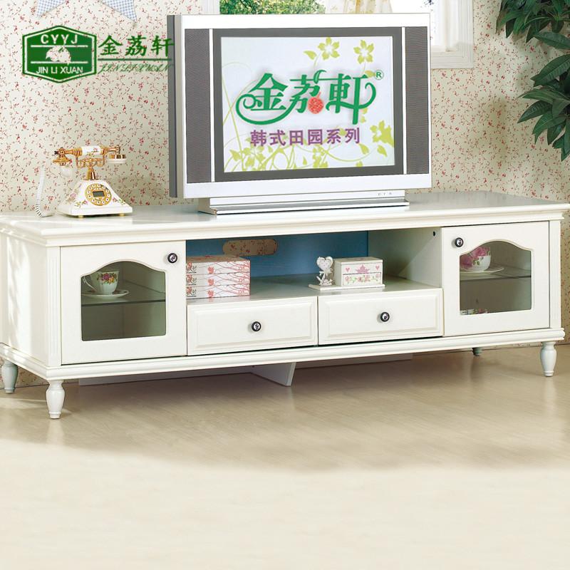 金荔轩 韩式田园家具 客厅地柜 实木电视柜 白色视听组