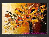 装饰油画壁画抽象客厅三联无框画向日葵手绘厚油奥凡德