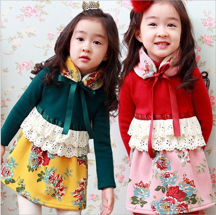 儿童演出服秋冬韩版儿童装女童碎花加绒长袖连衣裙儿童公主连衣裙