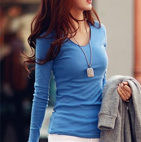 2015韩版春装新款 白色大码修身长袖t恤女 纯色V领棉上衣打底衫