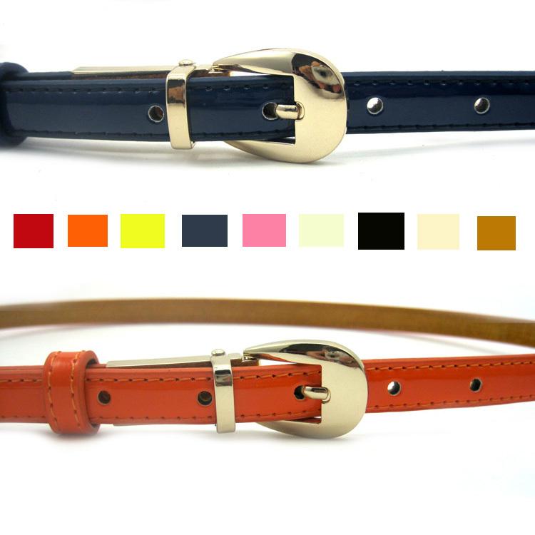 皮带部落  秒杀特价 高端品质OL首选细皮带  漆皮真皮腰带