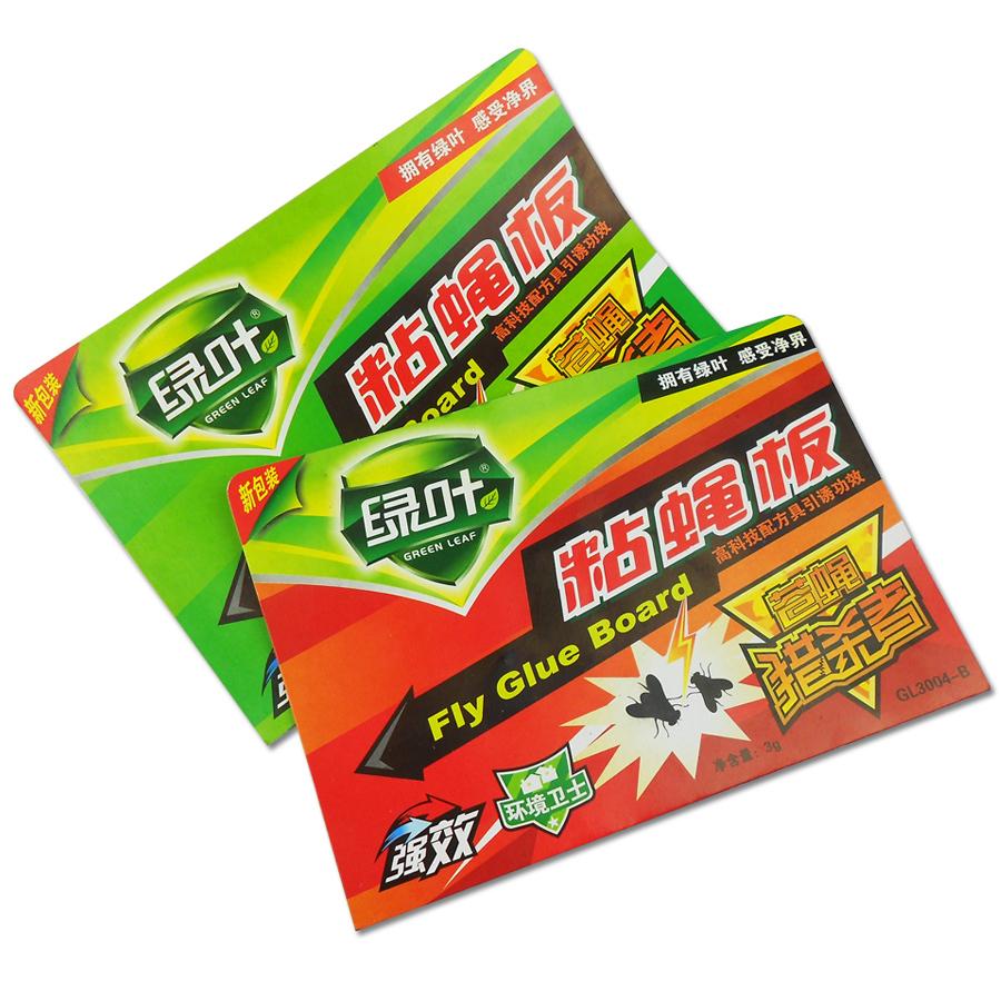 绿叶粘蝇板 粘蝇纸 苍蝇贴 苍蝇粘板含引诱剂高效杀苍蝇药