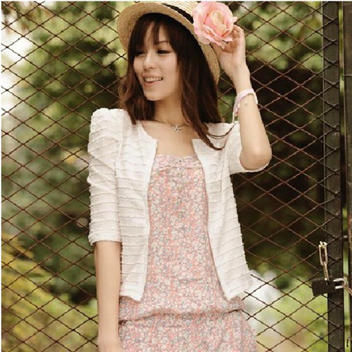 包邮2014夏季新款韩版 女 潮开衫中袖短款防晒衫小披肩小外套薄款