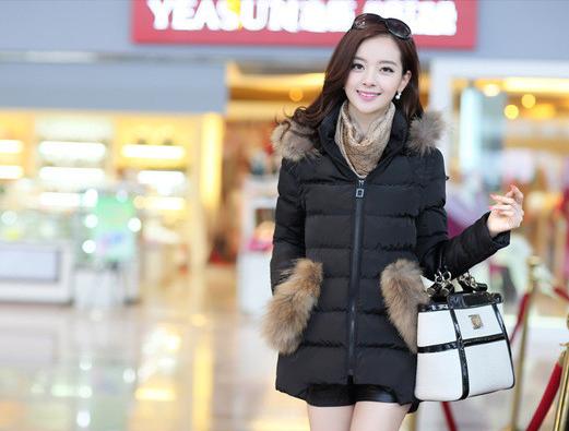 羽绒棉女装2015冬季新款奢华貉子毛领修身中长款羽绒棉棉衣