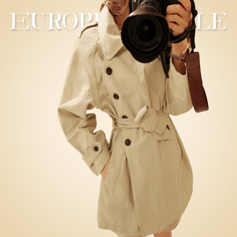 【韩国go】2014秋冬新款高端米色女装外套 双排扣风衣水洗棉 女