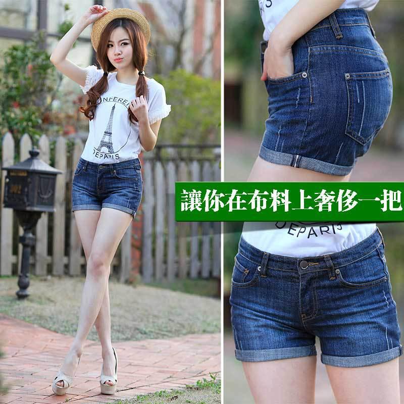 新款女装短裤热卖女士牛仔裤女韩版中腰显瘦翻卷边修身热裤夏薄