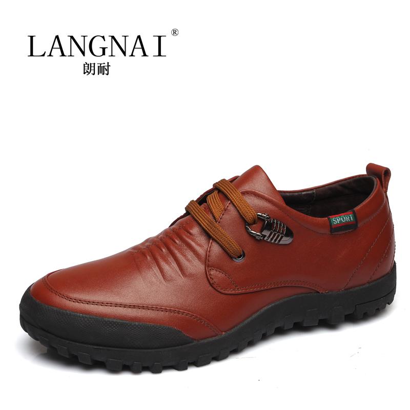 朗耐男鞋春季新款驾车鞋系带皮鞋男真皮正品男士休闲鞋子韩版英伦