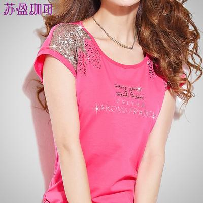 短袖t恤女夏2014夏装新款韩版修身显瘦半袖上衣大码体恤女装衣服